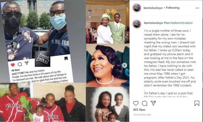 Kemi Olunloyo sheds tears as her baby daddy, Babatunde Ogunade, reunites  with their son after 35 years - 247 News Around The World